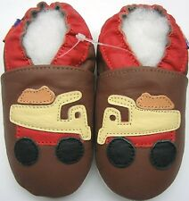 soft sole leather baby boy crib shoe mini shoezoo track brown 6-12m walking