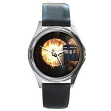 DOCTOR WHO DR. WHO TARDIS SILVER-TONE WATCH LEATHER BAND