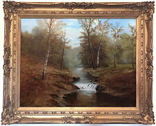 A Wooded River Landscape Antique Oil Painting 19th Century English School