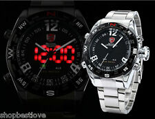 Men's Shark Stainless Steel Sports Watch w/ LED + Analog, Quartz, Day/Date