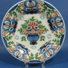 "f737: STYLIZED FLOWERS on 9¼"" POLYCHROME DELFT WALL PLATE TICHELAAR MAKKUM"