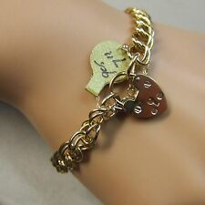 9 ct GOLD second hand solid double link charm bracelet