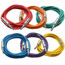 "SEISMIC AUDIO 6 PACK Colored 1/4"" TRS 10' Patch Cables"