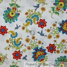 BonEful Fabric FQ Cotton Quilt White Red Aqua Gray Flower Humming Bird L Paisley