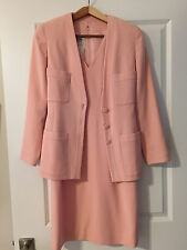 Vintage Chanel Pink Virgin Wool Dress Suit 38 (4) Mint Condition