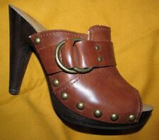 sexy Rich Brown PEEP TOE high heel platform clogs MOSSIMO womens 6.5 M Synthetic