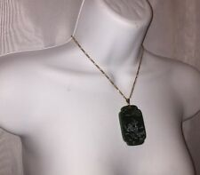 antique SPINICH GREEN Jadeite & 925 w/14k Lg stepped Rectang PENDANT w/SCRIMSHAW