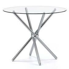Cassa Glass Round Dining Table with Chrome Legs -Toughened Glass and Metal