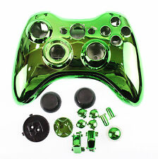 Replacement Custom Chrome Green Xbox 360 Controller Shell Case.