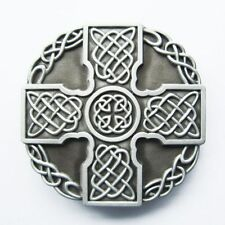 BRAND NEW CELTIC CROSS KNOTWORK SILVER 3-D BELT BUCKLE