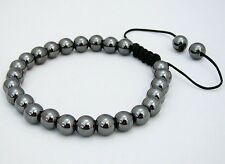 Men's Shamballa bracelet  all 8mm GUN METAL HEMATITE GREY beads
