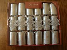 Set of 6: Sur La Table Silver Snowflake Handmade Christmas Crackers,Party Favors