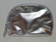 VICTORIA'S SECRET SHINY METALLIC SILVER BEAUTY MAKEUP COSMETIC BAG TRAVEL POUCH