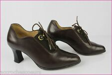 VINTAGE Escarpins CARLINE France Cuir Marron T 36 TBE