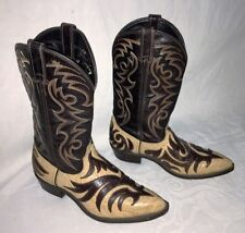Mens Sz 8 EE Code West cowboy boots - Dark Brown Leather w/ Tan Embossed Leather