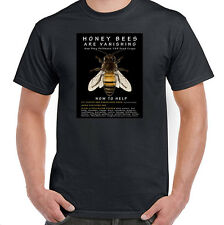 Honey Bees are Vanishing, How to Help, T-Shirt Black or White, Sizes S-6XL, NWT
