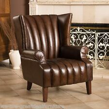 Luxury Top Grain Leather Wingback Armchair w/ Brass Nailhead Accents