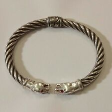 MILOR ITALY STERLING SILVER & RUBY 2 DOGS BRACELET.