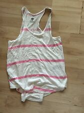 H & M, GIRLS, AGE 8-10 YEARS, EUR 134/140CM, PINK & WHITE VEST TOP, SLEEVELESS,