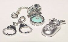 Vintage LOT 14K 18K W Gold Charm: Moveable Diamond Cake Box Handcuff Baby Shoe