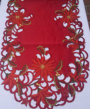 "16""x72"" Embroidered Christmas Cutwork Tablecloth Poinsettias Table Runner"