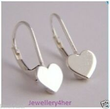 925 Sterling Silver Small Heart Lever Back Continental Wire Earrings X'Mas GIFT