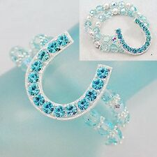 WESTERN horse shoe stretch crystal bracelet in silvertone and light turquoise