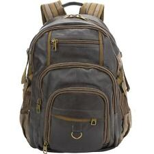 Black Rivet Mens Leather / Canvas Backpack Brown