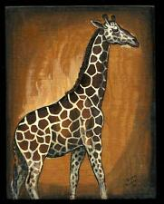 1984 Painting on Wood Giraffe by Diane Rudolph, Scotia, New York