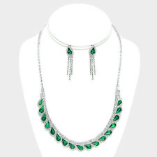 Emerald green diamante crystal necklace earring set proms parties evenings 0544