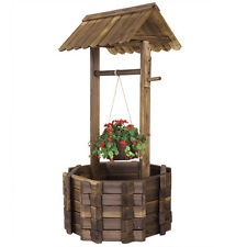 Wishing Well Rustic Fir Wood Bucket  Planter Yard Garden Lawn Wooden Wedding NEW