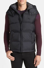 NWT Burberry Brit Men's Nova Check Navy Blue Hooded Down Puffer Vest Jacket SZ L
