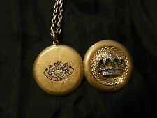"JUICY COUTURE Crown Photo Locket Necklace 36"" Gold Silver Distress Antique Metal"