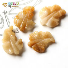 1× Large/Big 30×25mm Hand Carved 3D Leaf Natural Yellow Jade Gemstone Bead -T075
