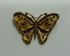 Vintage Trifari Butterfly Brooch Pin Yellow Green Gold Flowers