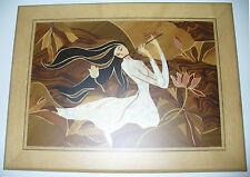 Marquetry Original Wood Inlay of Woman with Flute, wall hanging, picture