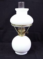 Collectible VINTAGE WHITE MILK GLASS OIL LAMP 24 cm Tall with Wick
