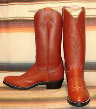 Mens Vintage Justin Diamond J Brown Leather Work / Cowboy Boots 8.5 D NEW In Box