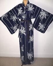 FAB VINTAGE JAPANESE TALL YUKATA COTTON KIMONO ROBE DRESSING GOWN +belt FLORAL