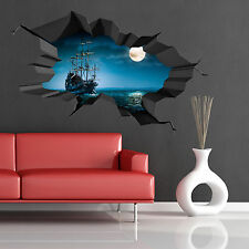 Full colour 3d PIRATE MER OCEAN grotte navire lune craquelé Mur Art Autocollant Decal