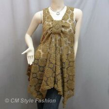 Sheer Front Knot Lace Crochet A Line Flowy Layered Tunic Top Brown M