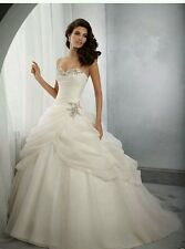 New White/Ivory Organza Bridal Wedding Dress Bridal Gown   Size 6- 16 UK