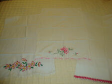 Lot of 3 Vintage White Cotton Pillowcases w Emb Flowers Roses and Pink Crochet
