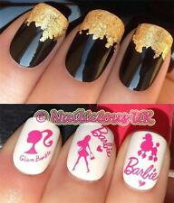 NAIL ART SET #474. PINK BARBIE DOLL WATER TRANSFERS/DECALS/STICKERS & GOLD LEAF