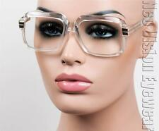 Oversized Vintage Gazelle Style Glasses Retro Clear Lens Gold Clear Frame 60CC