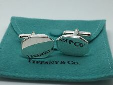 Vintage Tiffany Co Sterling Silver Octagon Cufflinks Cuff Links Pouch