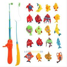 Educational Fish Game Magnetic Fishing Pole Rod 20PCS Fish Model Set Kids Toy LS