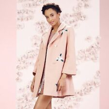 LAUREN CONRAD RUNWAY EMBROIDERED WOOL BLEND SWING COAT PINK FLORAL NEW ~ SIZE 4