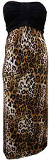 New Ladiess Plus Size Bandeau Boob Leopard Animal Print Long Maxi Dress