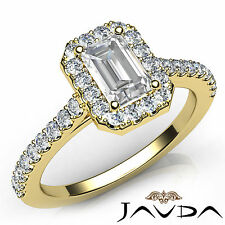 Emerald Diamond Prong Set Engagement Ring GIA I Color SI1 18k Yellow Gold 1.22Ct